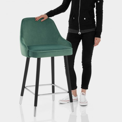 Glam Bar Stool Green Velvet Features Image