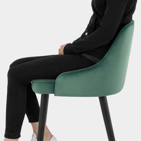 Glam Bar Stool Green Velvet Seat Image