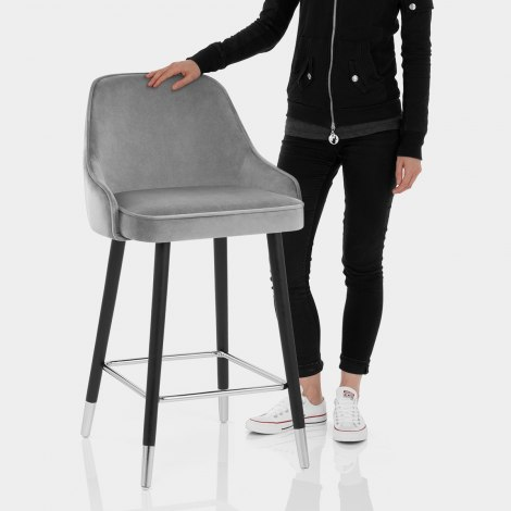 Glam Bar Stool Grey Velvet Features Image
