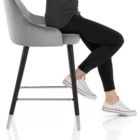 Glam Bar Stool Grey Velvet Seat Image