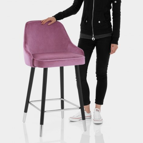 Glam Bar Stool Purple Velvet Features Image