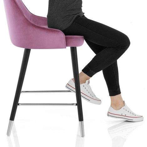 Glam Bar Stool Purple Velvet Seat Image