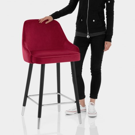 Glam Bar Stool Red Velvet Features Image