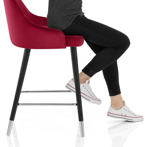 Glam Bar Stool Red Velvet Seat Image