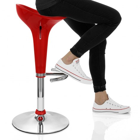 Gloss Coco Bar Stool Red Seat Image