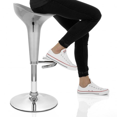 Gloss Coco Bar Stool Silver Seat Image