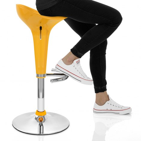 Gloss Coco Bar Stool Yellow Seat Image