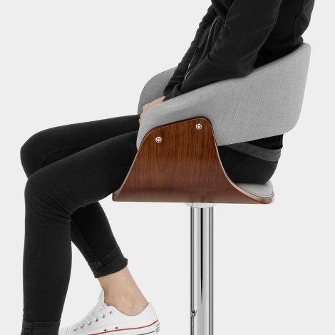 Grafton Stool Walnut & Grey Fabric Seat Image