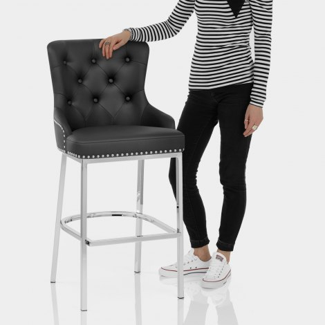 Grange Bar Stool Black Leather Features Image