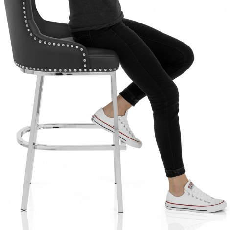 Grange Bar Stool Black Leather Seat Image