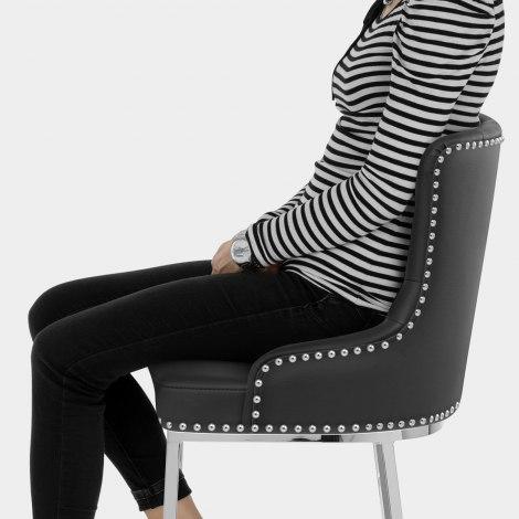 Grange Bar Stool Black Leather Seat Image