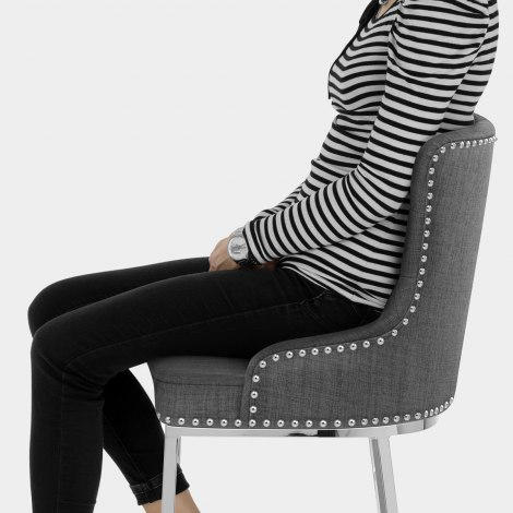 Grange Bar Stool Charcoal Fabric Seat Image
