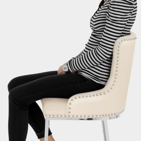 Grange Bar Stool Cream Leather Seat Image