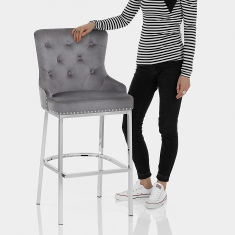 Grange Bar Stool Grey Velvet Features Image