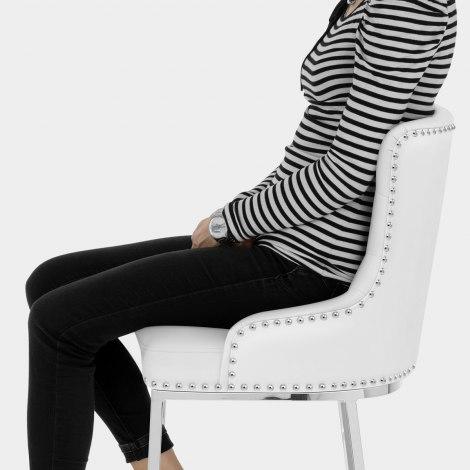Grange Bar Stool White Leather Seat Image