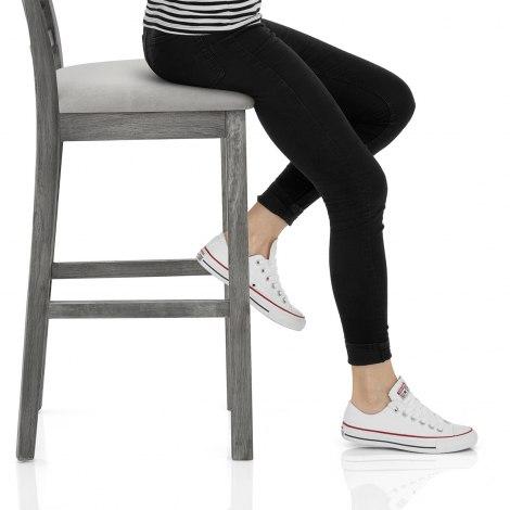 Grasmere Stool Grey Velvet Seat Image
