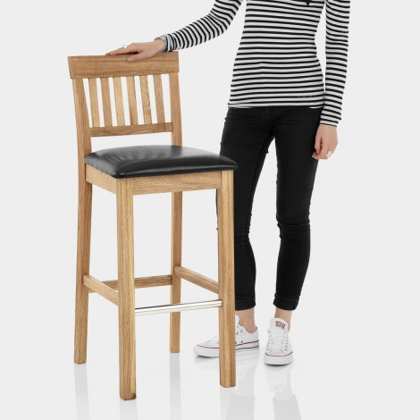 Grasmere Oak Bar Stool Black Features Image
