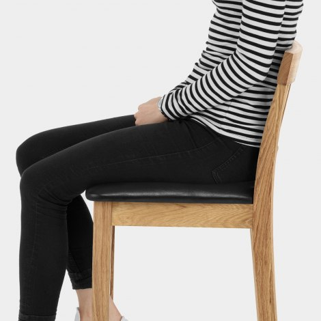 Grasmere Oak Bar Stool Black Seat Image
