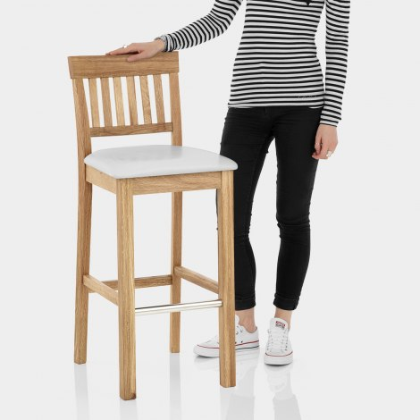 Grasmere Oak Bar Stool White Features Image