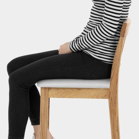 Grasmere Oak Bar Stool White Seat Image