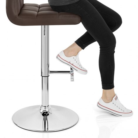 Grid Bar Stool Brown Seat Image