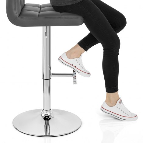 Grid Bar Stool Grey Seat Image