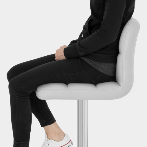 Grid Bar Stool White Seat Image