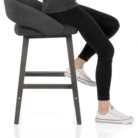 Halo Bar Stool Charcoal Fabric Seat Image