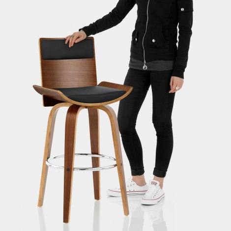 Harper Bar Stool Walnut & Black Features Image