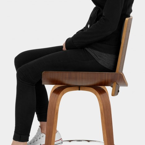 Harper Bar Stool Walnut & Black Seat Image