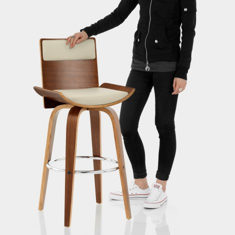 Harper Bar Stool Walnut & Cream Features Image