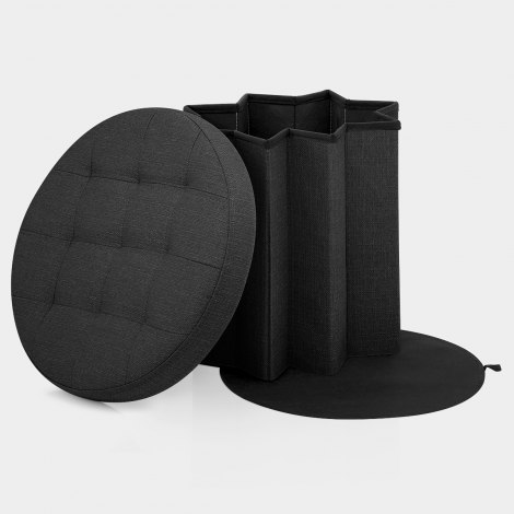 Hatton Foldaway Ottoman Black Fabric Features Image