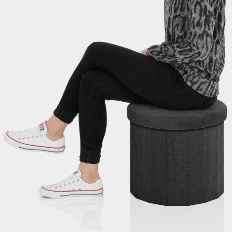 Hatton Foldaway Ottoman Black Fabric Seat Image