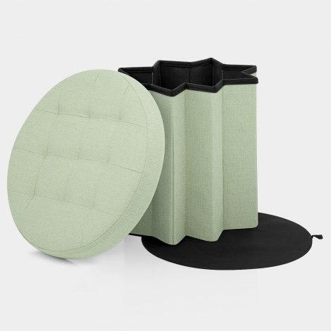 Hatton Foldaway Ottoman Green Fabric Features Image