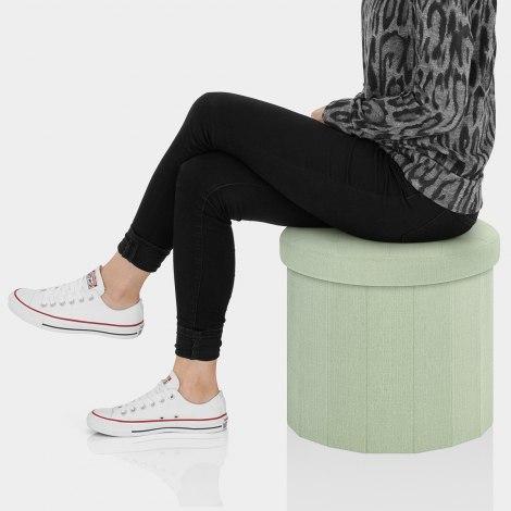 Hatton Foldaway Ottoman Green Fabric Seat Image