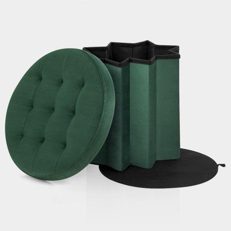 Hatton Foldaway Ottoman Green Velvet Features Image