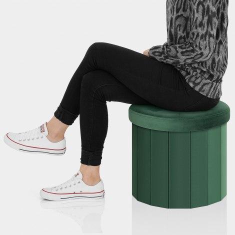 Hatton Foldaway Ottoman Green Velvet Seat Image