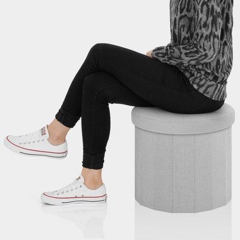 Hatton Foldaway Ottoman Grey Fabric Seat Image