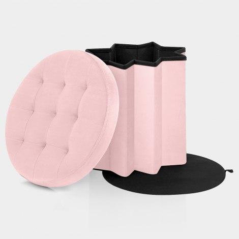Hatton Foldaway Ottoman Pink Velvet Features Image