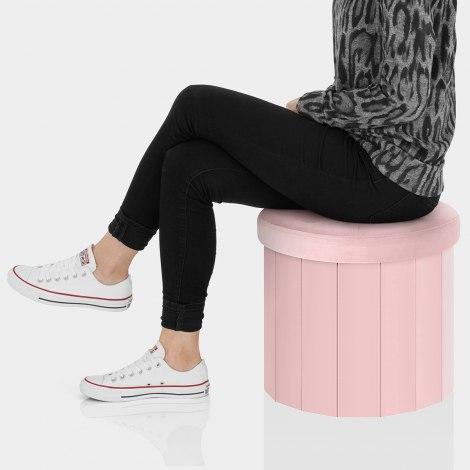 Hatton Foldaway Ottoman Pink Velvet Seat Image