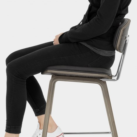 Henley Wooden Stool Charcoal Seat Image