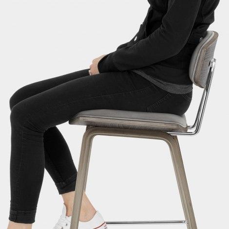 Henley Wooden Stool Grey Velvet Seat Image