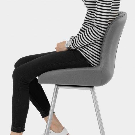 Hero Brushed Steel Stool Grey Seat Image