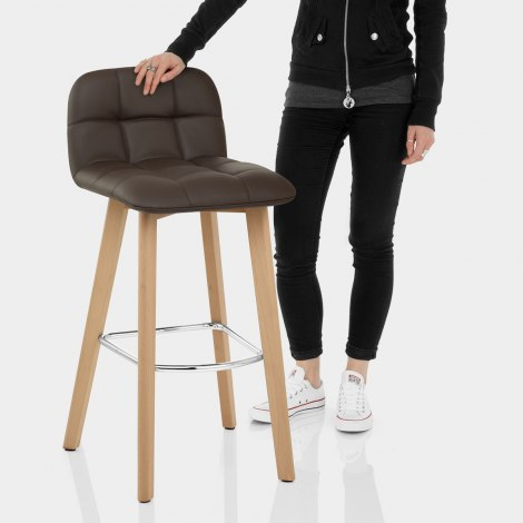 Hex Wooden Stool Brown Real Leather Features Image
