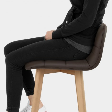 Hex Wooden Stool Brown Real Leather Seat Image