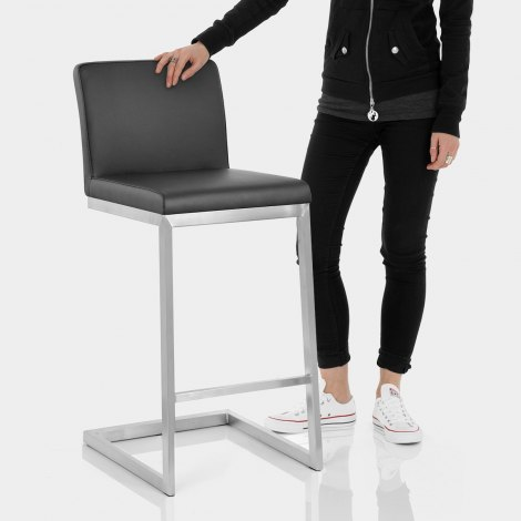 High Ace Brushed Stool Black Features Image