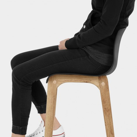 High Drift Oak & Black Bar Stool Seat Image