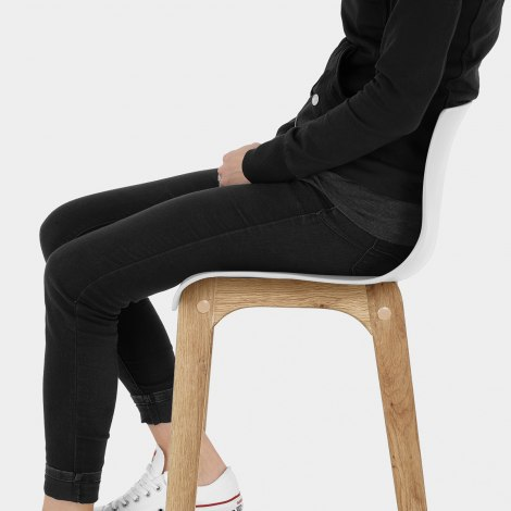 High Drift Oak & White Bar Stool Seat Image