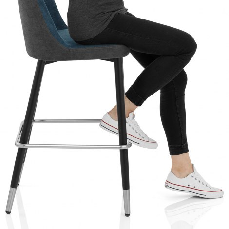 Hudson Stool Charcoal & Blue Fabric Seat Image