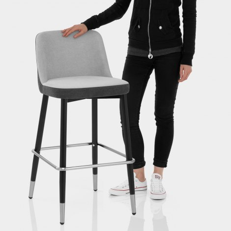 Hudson Stool Charcoal & Grey Fabric Features Image